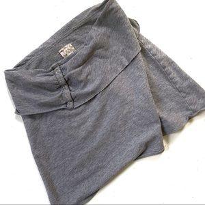 Free People Gray Mini Circle Fold Over Skirt